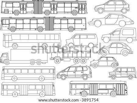car and bus vector set