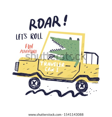 Car and cute alligator vector illustration for print design. Can be used for shirt design, fashion print design, kids wear, textile design, greeting card, invitation card.