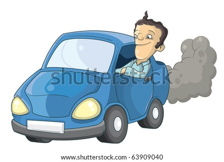 Car and driver - stock vector