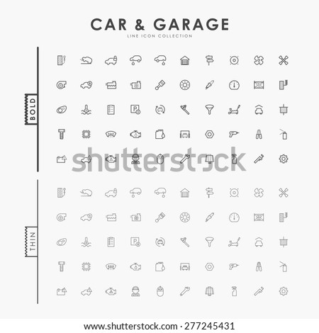 car and garage on bold and thin outline icons concept