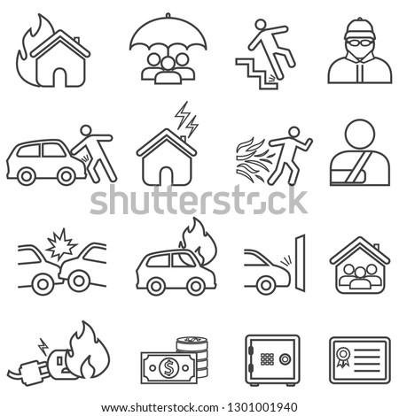 Car and home insurance line icon set