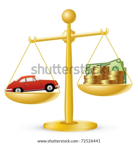 Car and money on scales. Car prices concept.