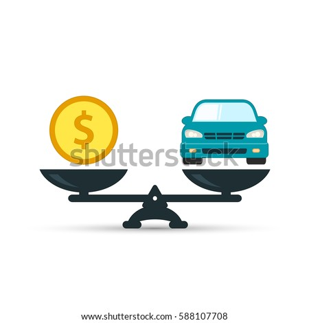 Car and money on scales icon, vector. Scales with car and dollar coin in flat style. Buying car concept.