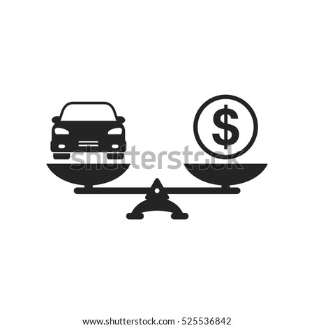 Car and money on scales icon, vector. Scales with car and dollar coin in flat style. Car price concept.
