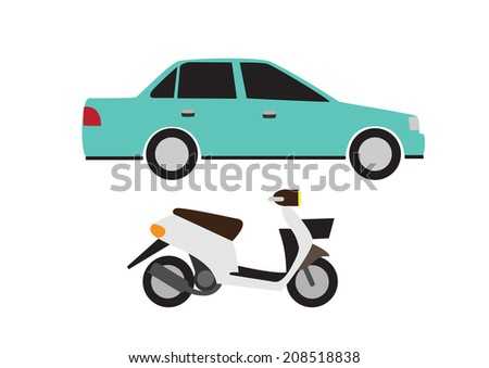 car and motorbike vector
