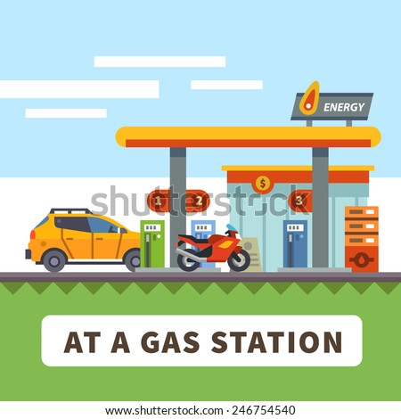 car and motorcycle at a gas