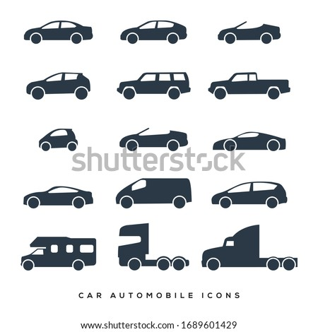 Car and Motorcycle type icons set. Vector black illustration isolated on white background. Variants of model automobile and motor body silhouette for web with title.