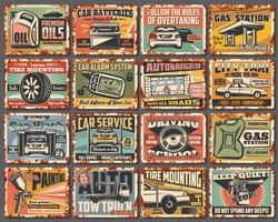 Car and spare part old metal signboards with rusty effect, auto service and repair shop vector design. Vehicle battery, tires and motor oil, steering wheel, tow truck and gas station, alarm system key