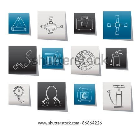 car and transportation equipment icons - vector icon set - stock vector