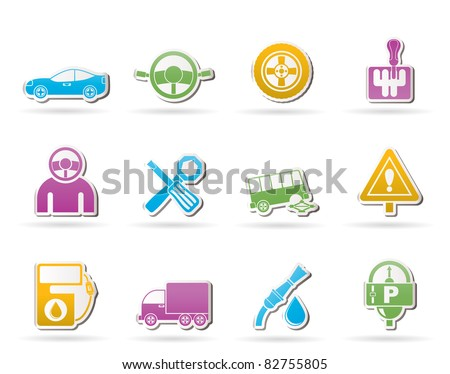 Car and transportation icons - vector icon set