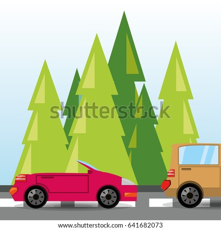 car and truck over rood with forestal landscape