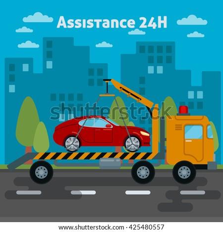 Car Assistance. Roadside Assistance Car. Tow Truck. Car Service. Car Towing Truck. Broken Car. Road Car Repair Service. Vector Tow Truck. Vector illustration