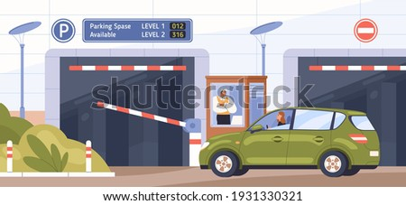 Car at parking entrance with barrier. Scene with guard in booth opening gate and letting driver to drive into paid parking lot. Colored flat cartoon vector illustration of underground garage entry