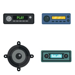 Car audio icons set. Flat set of car audio vector icons for web design