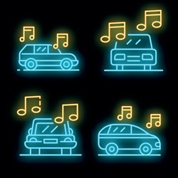 Car audio icons set. Outline set of car audio vector icons neon color on black