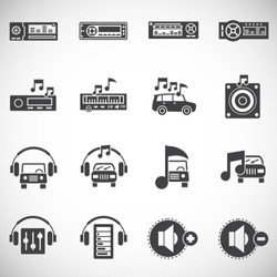 Car audio related icons on background for graphic and web design. Simple illustration. Internet concept symbol for website button or mobile app.