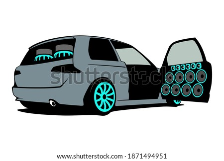 Car audio stylish logo with speakers in open doors and subwoofer loudspeaker in trunk. Vector illustration. Сток-фото ©