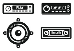 Car audio system icons set. Simple set of car audio system vector icons for web design on white background
