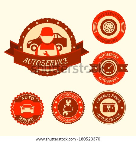 Car auto service labels badges emblems set isolated vector illustration