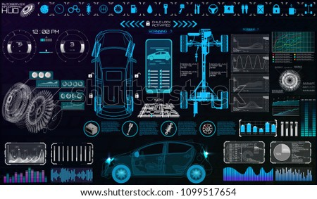 Car Auto Service, Modern Design, Diagnostic Auto. Virtual Graphical Interface in Modern Style (Infographics, Auto Scanning, Analysis and Diagnostics) Vector Set Elements