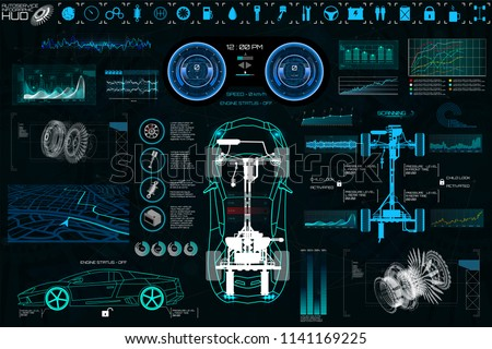 Car Auto Service, Modern Design HUD, Diagnostic Auto (view from above) Virtual Graphical Interface in Modern Style (Infographics, Auto Scanning, Analysis and Diagnostics) HUD Vector Set Elements