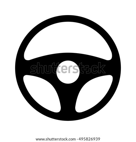 Car / automobile steering wheel or driving wheel flat vector icon for apps and websites