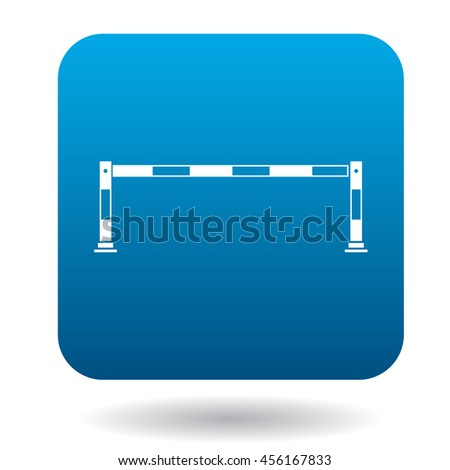 Car barrier icon in simple style in blue square. Transport and service symbol