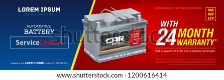 Car battery advertisement poster. 3D illustration realistic vector automobile battery. Banner. Promotion. Information. Store. Sale. Discount. Flyer print. Mock-up. Web design. Brochure.