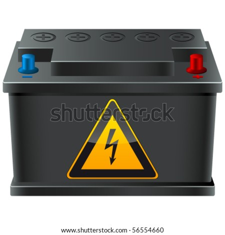 car battery with high voltage sign - vector illustration
