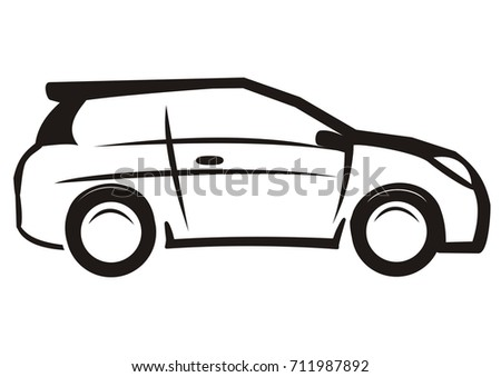car  black and white sketch