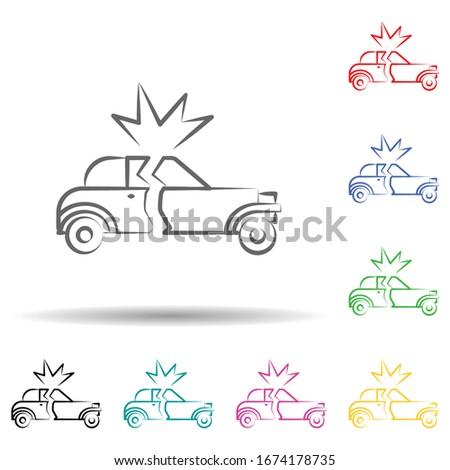 car bomb multi color set icon