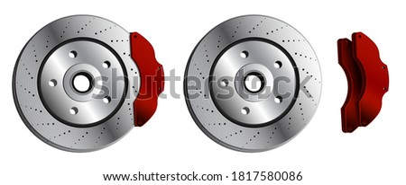 car brake disc with red brake pads. Brake pads, car parts. Maintenance in workshop. Vector in realistic style Foto d'archivio ©