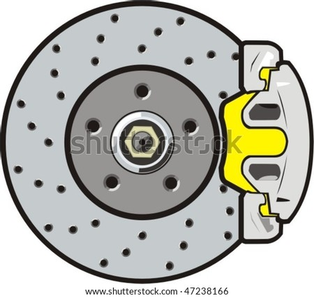 car brake disk with support and brake shoetree - stock vector