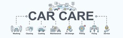 Car care banner web icon for business, wash, cleaning, coating, oil change, fitting, auto service, fix and maintenance. Minimal cartoon vector infographic.