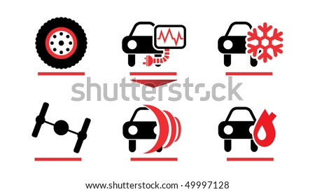 Car care icons - stock vector
