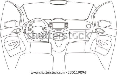 car cockpit line drawing  vector