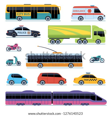 Car collection. Vehicles city transportation. Cars, scooters motorcycle. Side view urban auto isolated vector illustrations set
