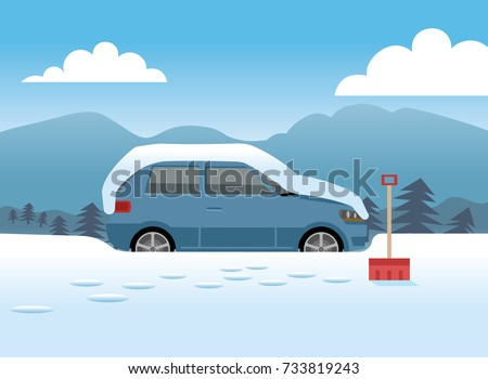 car covered in snow about to
