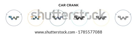 car crank icon in filled  thin