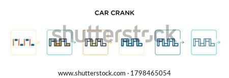 car crank vector icon in 6