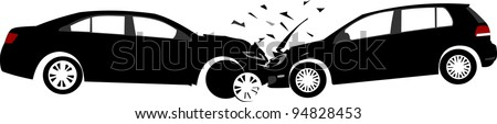 Car crash concept. Layered vector illustration