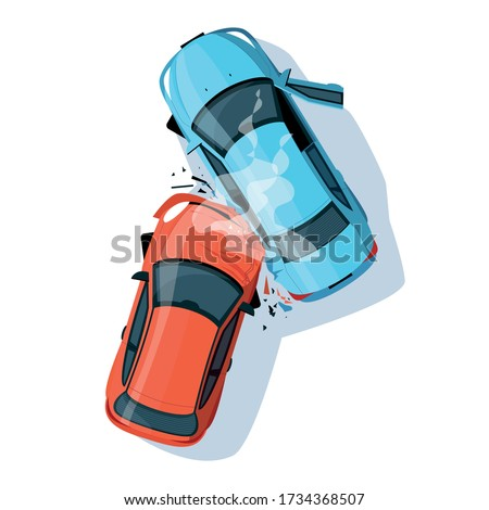 Car crash semi flat RGB color vector illustration. Road collisition. Road accident. Damaged transport. City drive disaster. Two smashed vehicles isolated cartoon objects top view on white background