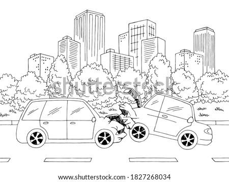 car crash street road graphic