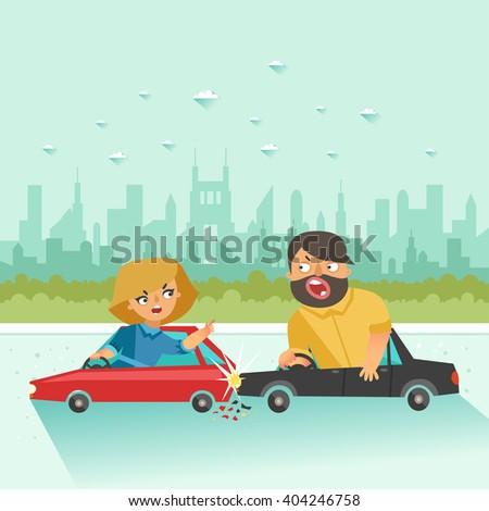 car crash two drivers arguing