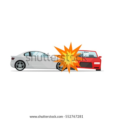 Car crash vector illustration flat cartoon style, two automobiles collision, auto accident scene side and front