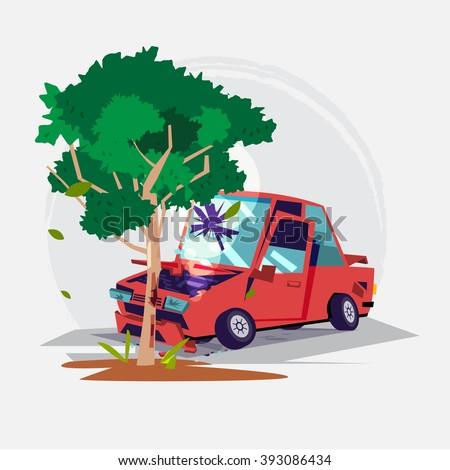 car crash with a big tree