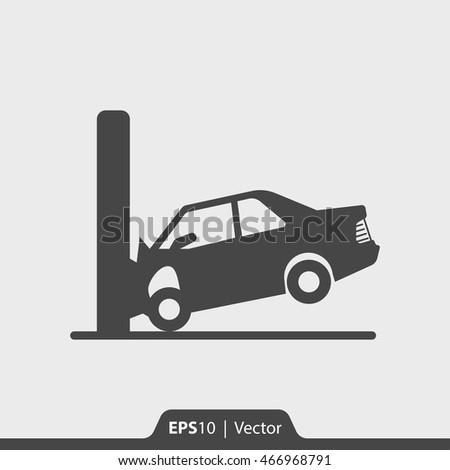 car crash with wall vector icon
