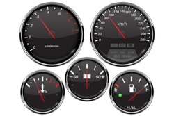 Car dashboard 3d gauges. Speedometer, tachometer, fuel gauge, temperature and accumulator charge device. Vector illustration isolated on white background