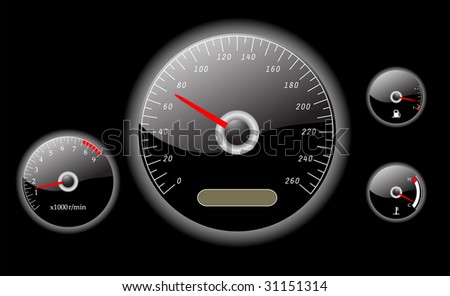 car dashboard instruments vector illustrated