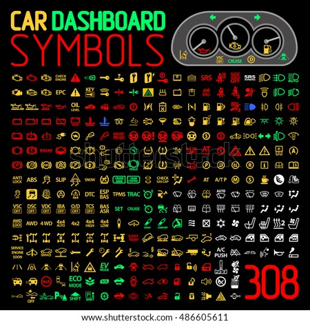 car dashboard panel icons symbols warning light indicators vector set